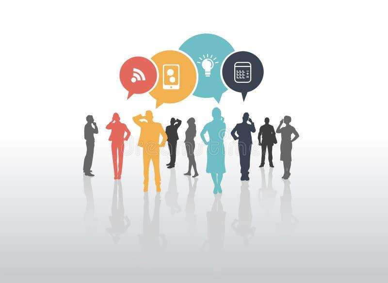 Bedrijfsmensen die zich met toespraakbellen bevinden die app pictogrammen tonen royalty-vrije illustratie