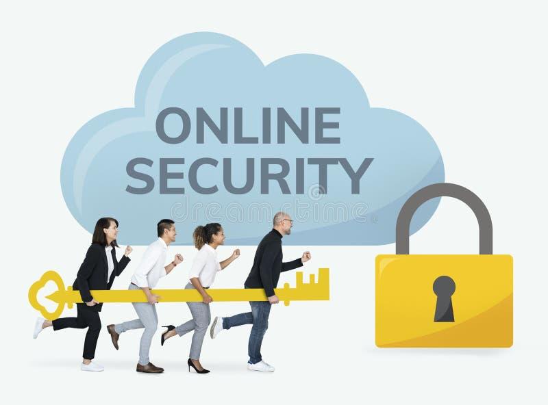 Bedrijfsmensen die zich op online veiligheid concentreren stock foto's
