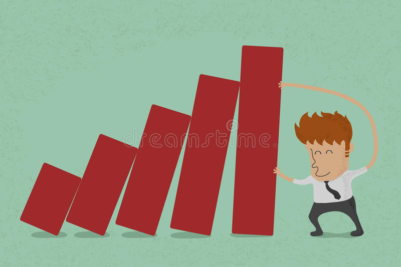 Bedrijfsmensen duwende grafiek royalty-vrije illustratie