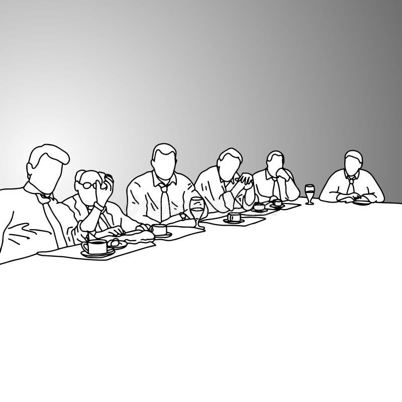 Bedrijfsmensen in een conferentieruimte met voedsel op de lijst vect stock illustratie
