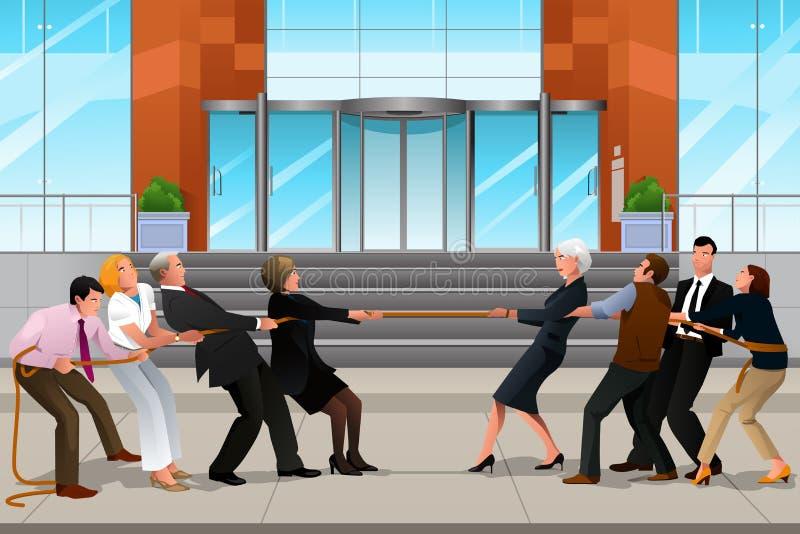 Bedrijfsmensen in een Touwtrekwedstrijd royalty-vrije illustratie