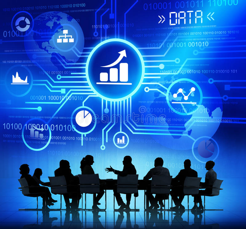 Bedrijfsmensen in een Vergadering en Gegevensconcepten stock afbeeldingen