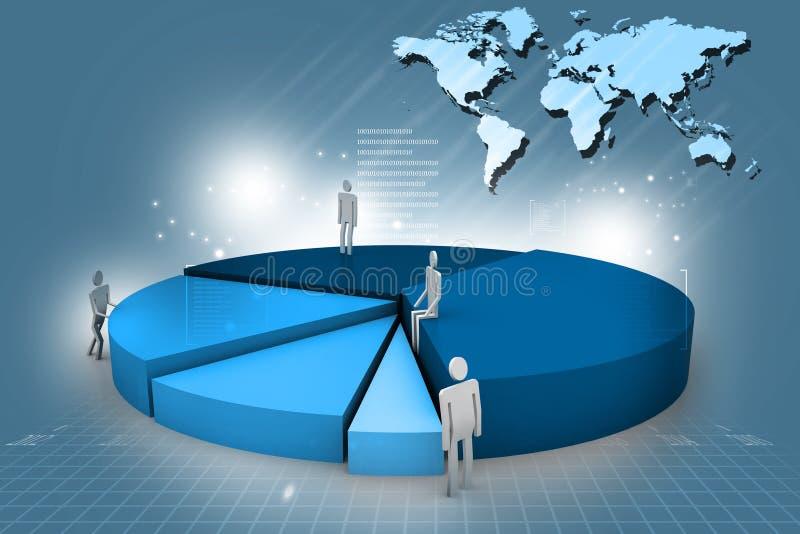 Bedrijfsmensen en 3d cirkeldiagram vector illustratie