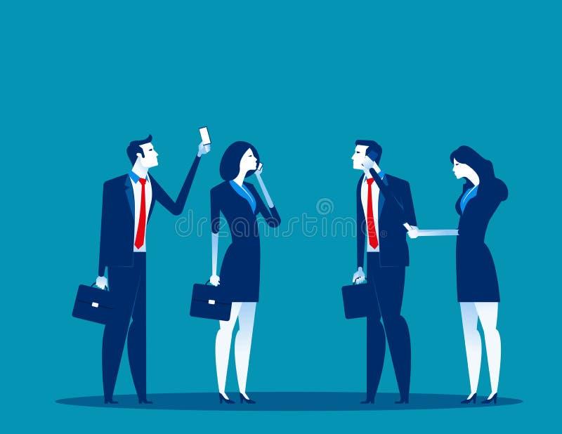 Bedrijfsmensen en mobiele gebruikers Concepten bedrijfstechnologie vectorillustratie Technologie en smartphone, Mededeling royalty-vrije illustratie