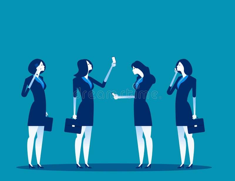 Bedrijfsmensen en mobiele gebruikers Concepten bedrijfstechnologie vectorillustratie Technologie en smartphone, Mededeling stock illustratie
