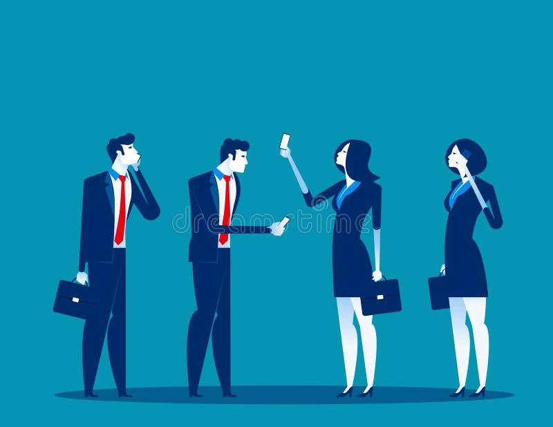Bedrijfsmensen en mobiele gebruikers Concepten bedrijfstechnologie vectorillustratie Technologie en smartphone, Mededeling vector illustratie