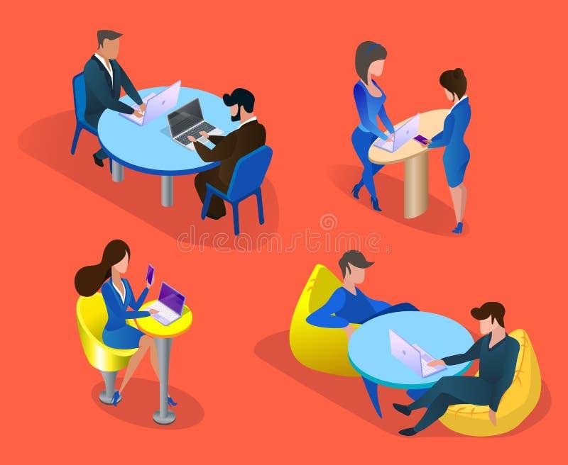 Bedrijfsmensen Geplaatst die op Oranje Achtergrond worden geïsoleerd royalty-vrije illustratie