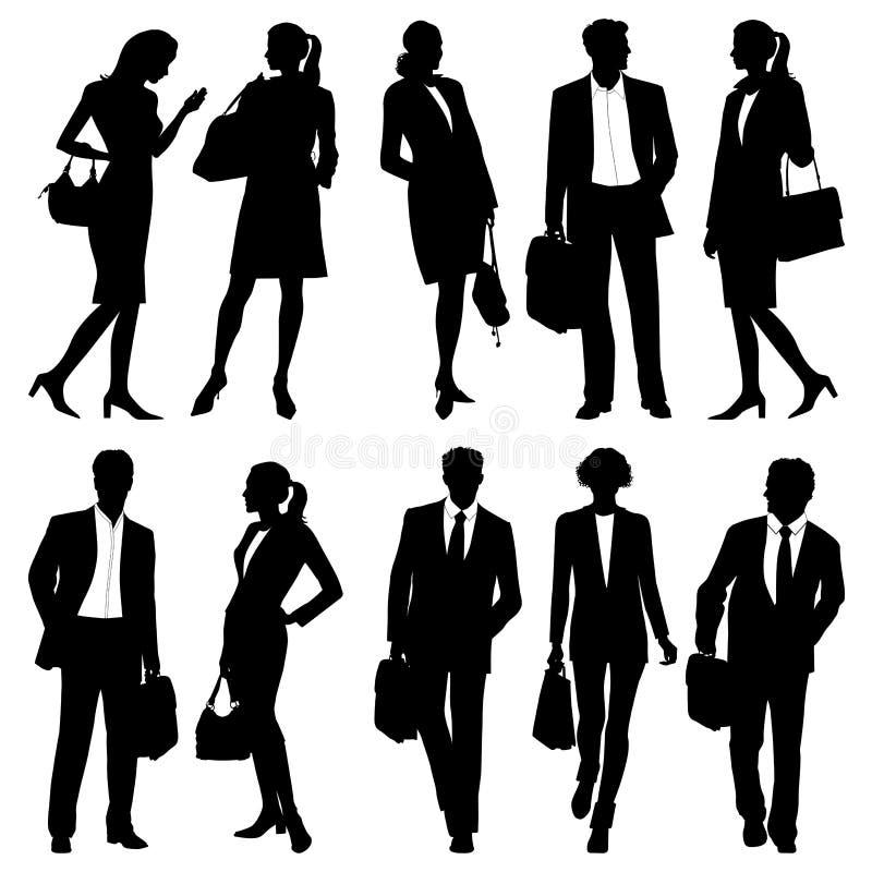 Bedrijfsmensen - globaal team - vectorsilhouetten stock illustratie