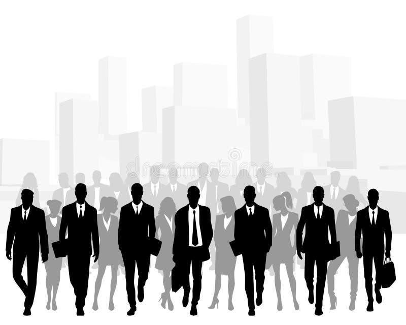 Bedrijfsmensen in grote stad vector illustratie