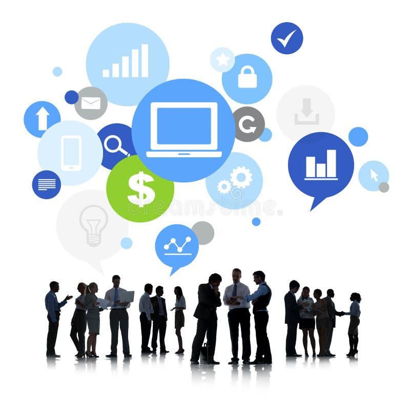 Bedrijfsmensen met Globaal Communicatie Concept royalty-vrije stock foto