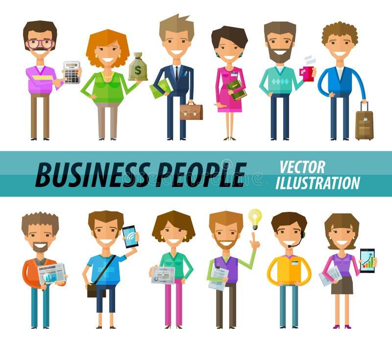 Bedrijfsmensen op een witte achtergrond Een reeks van stock illustratie