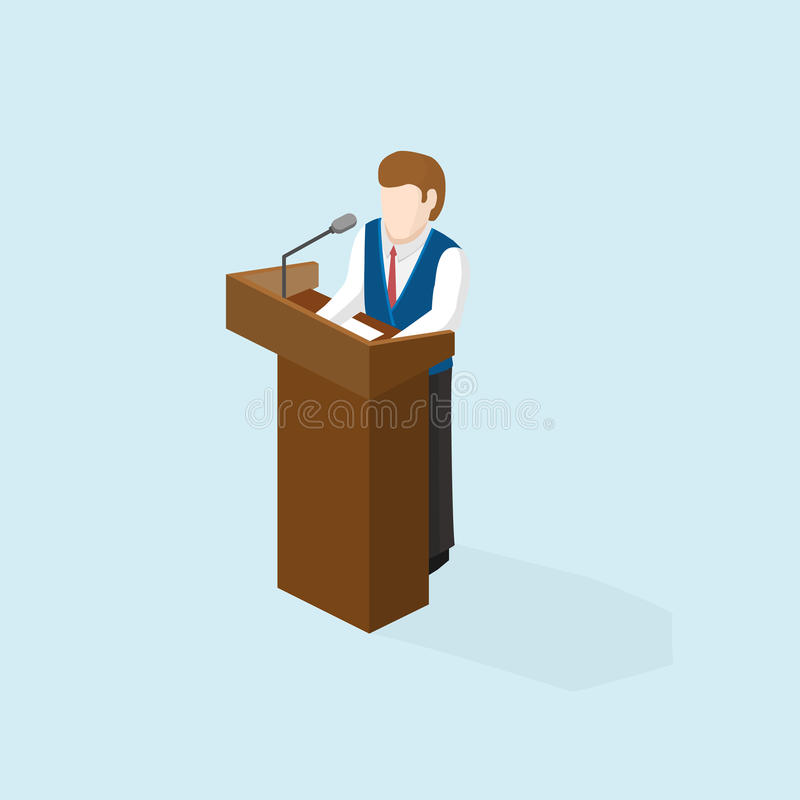 Bedrijfsmensen openbare spreker die in de preekstoel blijven stock illustratie