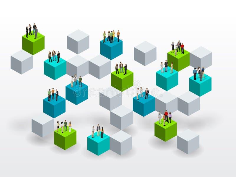 Download Bedrijfsmensen Over Blokken Vector Illustratie - Illustratie bestaande uit collectief, banner: 54086010