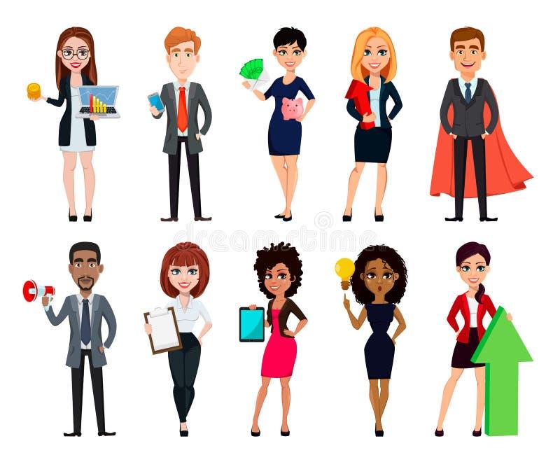 Bedrijfsmensen, reeks van tien beeldverhaalkarakters vector illustratie