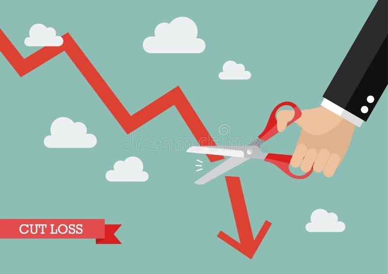 Bedrijfsmensen scherpe grafiek neer royalty-vrije illustratie