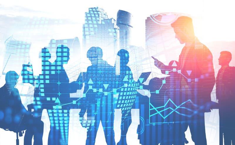 Bedrijfsmensen in stad, infographics stock illustratie