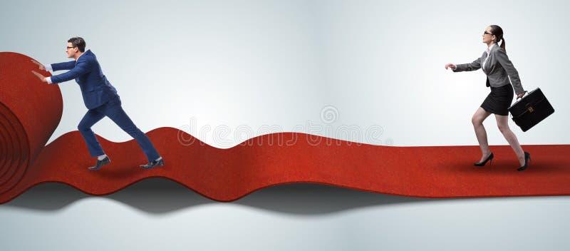 Bedrijfsmensen in succesconcept met rood tapijt royalty-vrije stock foto's