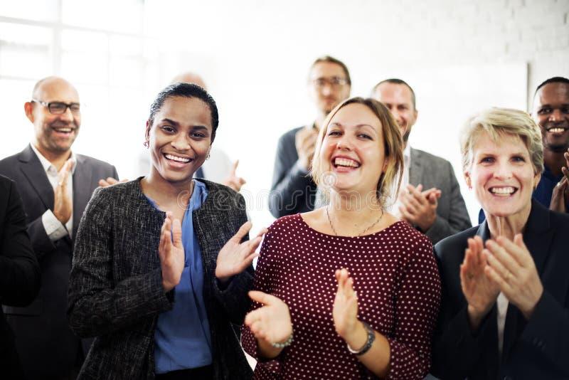 Bedrijfsmensen Team Applauding Achievement Concept royalty-vrije stock afbeelding