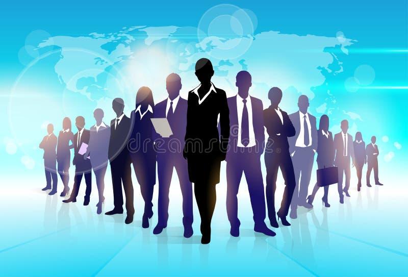 Bedrijfsmensen Team Crowd Walk Black Silhouette stock illustratie