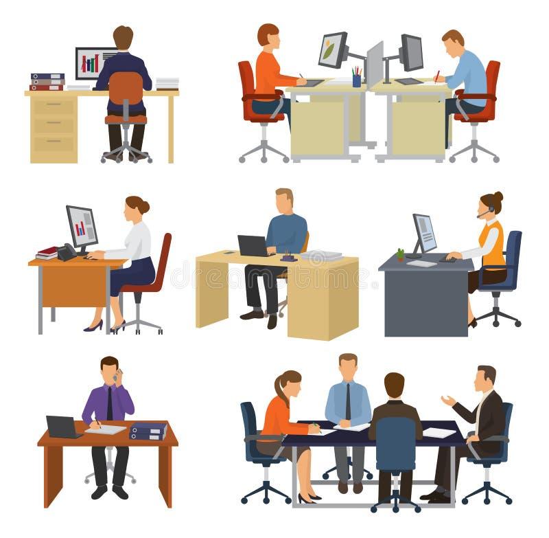 Bedrijfsmensen vector professionele arbeiders die bij lijst met laptop of computer in de reeks van de bureauillustratie zitten va vector illustratie