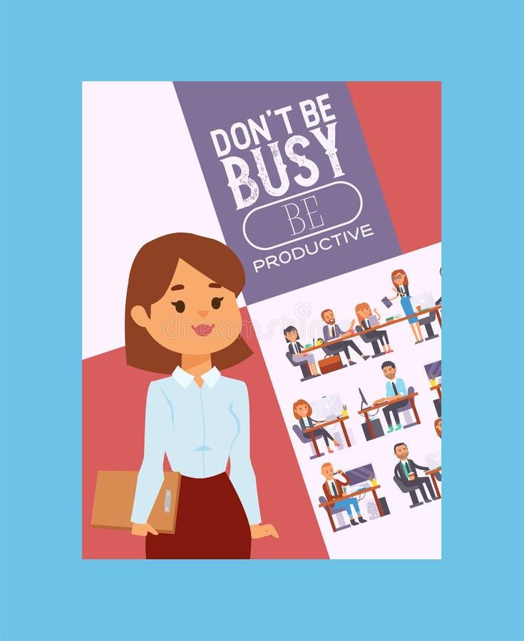 Bedrijfsmensen vector succesvol bedrijfsvrouwenkarakter en professionele arbeiders die bij lijst met binnen laptop zitten vector illustratie