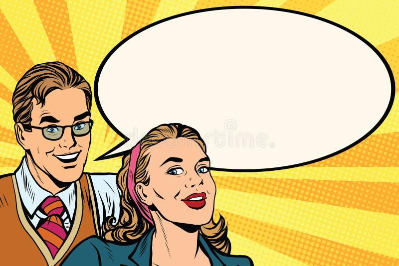 Bedrijfsmensenaankondiging de affiche van het reclamepop-art stock illustratie