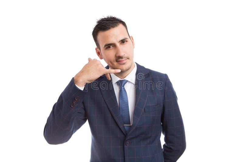 Bedrijfsmensencontactpersoon die ons gebaar maken roepen royalty-vrije stock foto's