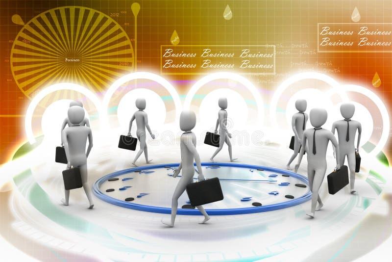 Bedrijfsmensengang de klok rond royalty-vrije illustratie