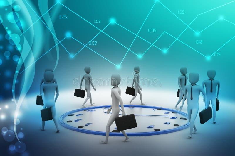 Bedrijfsmensengang de klok rond stock illustratie