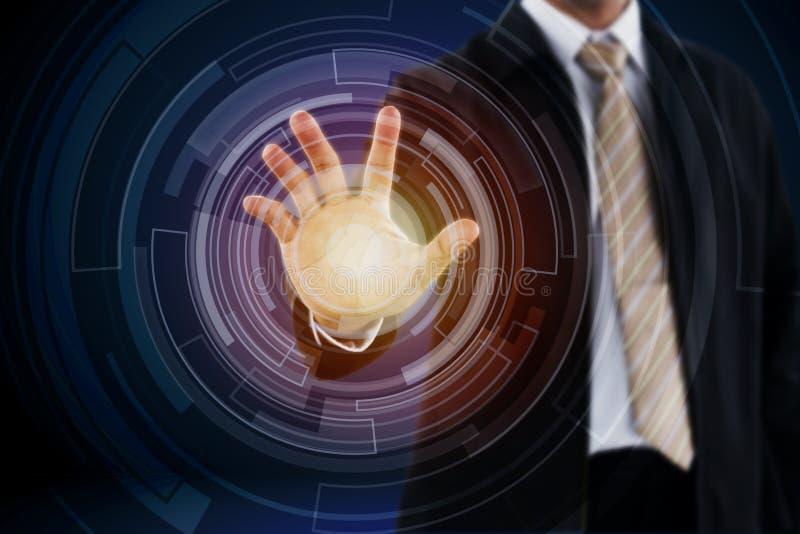 Bedrijfsmensenhand die de macht van digitale technologie houden stock illustratie