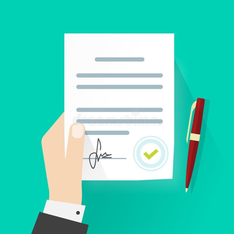 Bedrijfsmensenhand die de wettelijke vector van de de overeenkomstenhandtekening van het contractdocument houden royalty-vrije illustratie