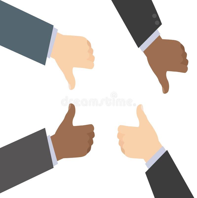 Bedrijfsmensenhanden tussen verschillende rassen Gesturing als en Afkeer Vlakke VectordieIllustratie op Wit wordt geïsoleerd vector illustratie