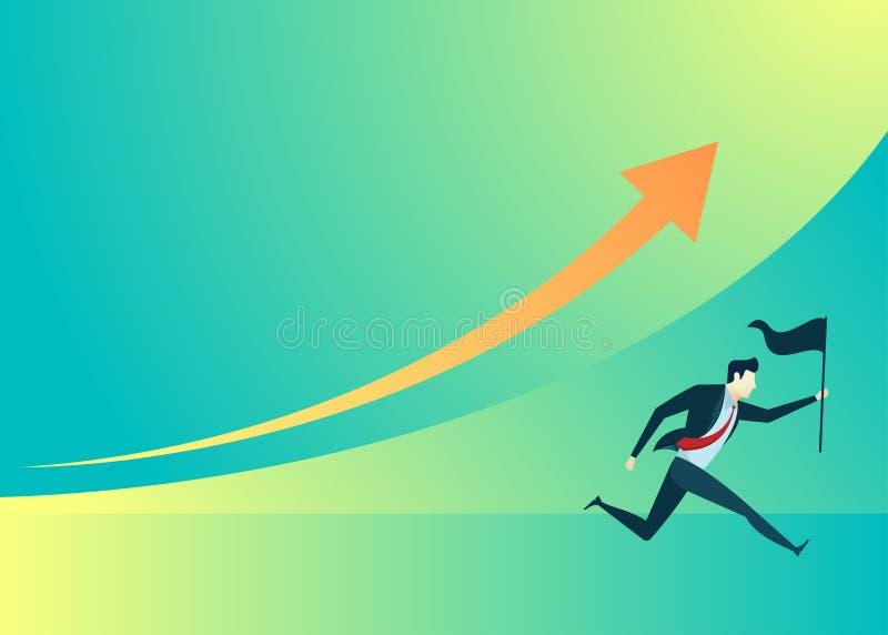 Bedrijfsmensenillustratie van de greepvlag van de zakenmanlooppas stock illustratie