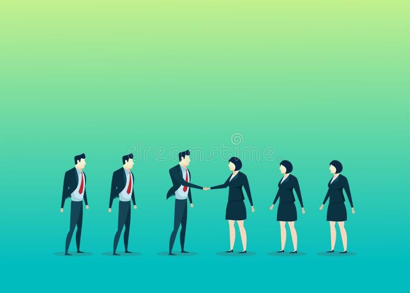 Bedrijfsmensenillustratie van de man van de groepswerkovereenkomst vrouw vector illustratie