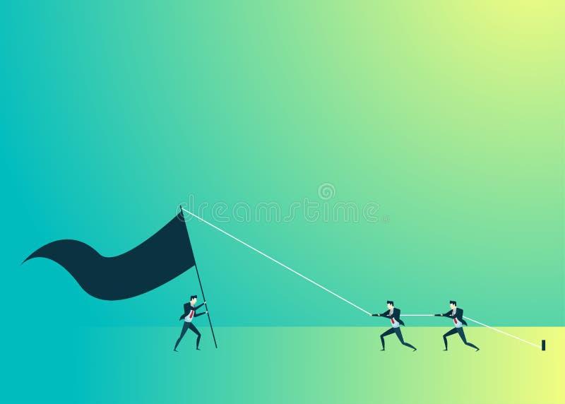 Bedrijfsmensenillustratie van groepswerktribune op vlag royalty-vrije illustratie