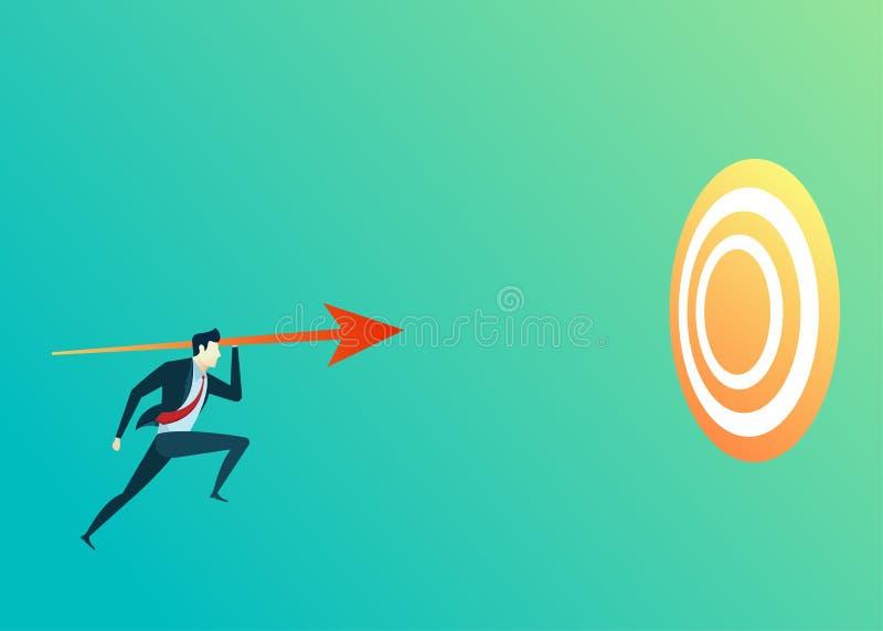 Bedrijfsmensenillustratie van het doelpijl van de leidersspruit stock illustratie