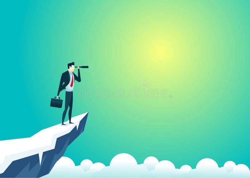 Bedrijfsmensenillustratie van zakenman hoogste berg die gebruikstelescoop kijken vector illustratie
