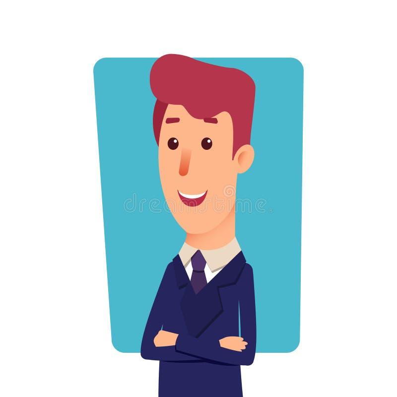 Bedrijfsmensenkarakter Beeldverhaal succesvolle zakenman in kostuum Jonge bureaumanager in vlakke stijl Professionele verkoper stock illustratie