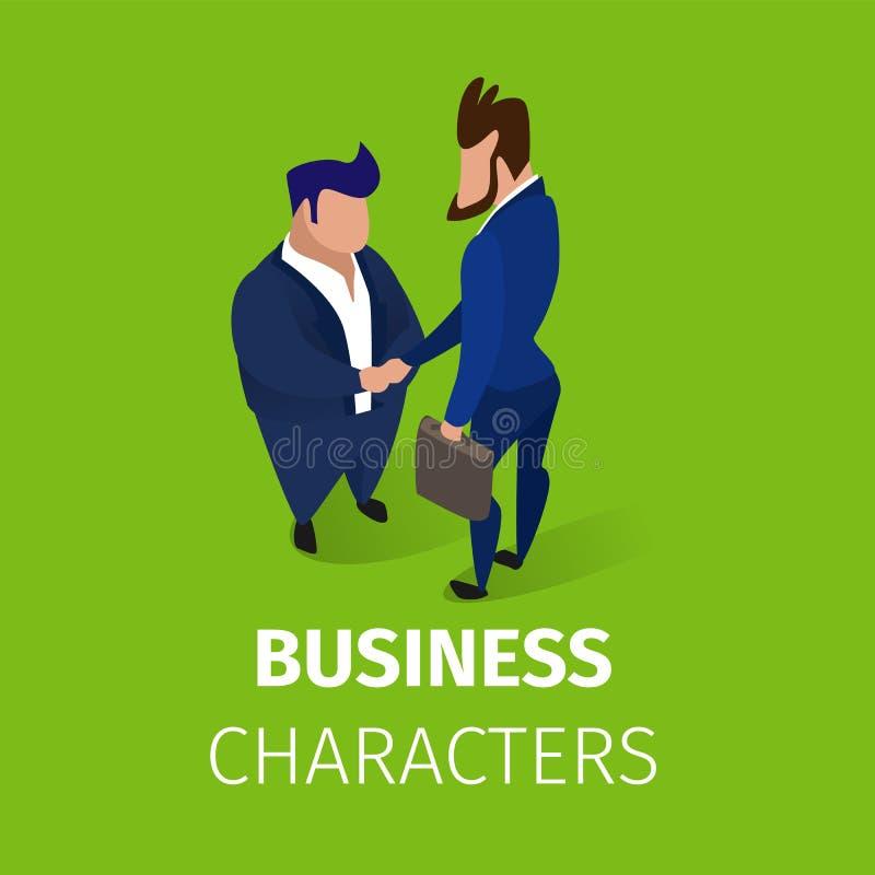 Bedrijfsmensenkarakters die Handenovereenkomst schudden royalty-vrije illustratie