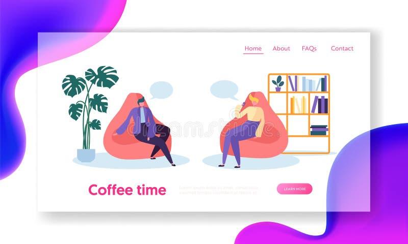 Bedrijfsmensenkarakters die op de Onderbrekingszitting van de Koffietijd ontspannen in Comfortabele Leunstoelen in Zaal Het Landi royalty-vrije illustratie