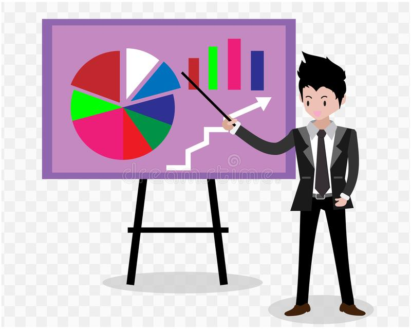 Bedrijfsmensenkarakters het bedrijfsconcept de groei, inspanning en verder gaan, koele Vectorillustratie als achtergrond De stijl royalty-vrije illustratie
