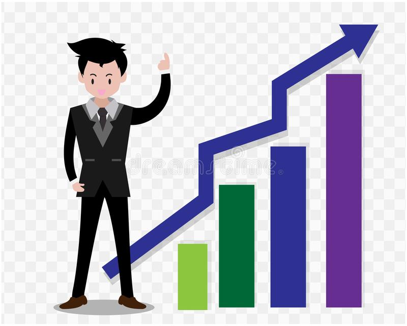 Bedrijfsmensenkarakters het bedrijfsconcept de groei, inspanning en verder gaan, koele Vectorillustratie als achtergrond De stijl stock illustratie