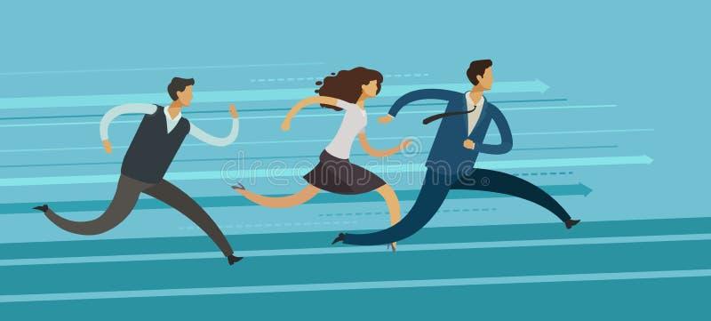 Bedrijfsmensenlooppas Concurrentie, rivaliteit, het concept van de doelvoltooiing Vector illustratie royalty-vrije illustratie
