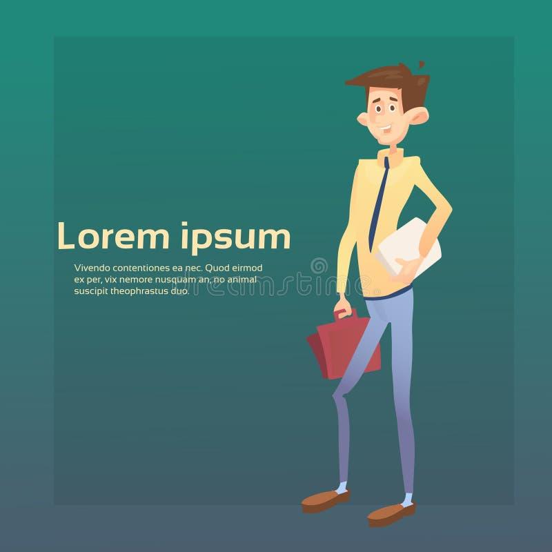 Bedrijfsmensenmanager Hold Suitcase Document, de Ruimte van Zakenmanbanner with copy vector illustratie