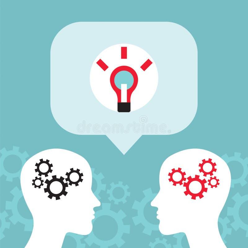 Bedrijfsmensenmededeling, gesprek Helder Ideeënconcept stock illustratie