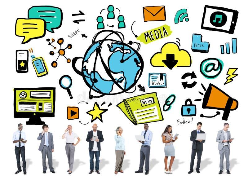 Bedrijfsmensenmedia Technologie Digitaal Communicatie Concept royalty-vrije stock fotografie