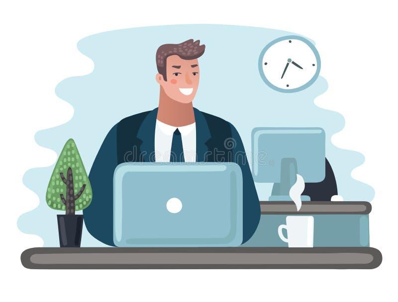 Bedrijfsmensenondernemer in een kostuum die aan een laptop computer bij zijn schoon en glad bureau werken stock illustratie