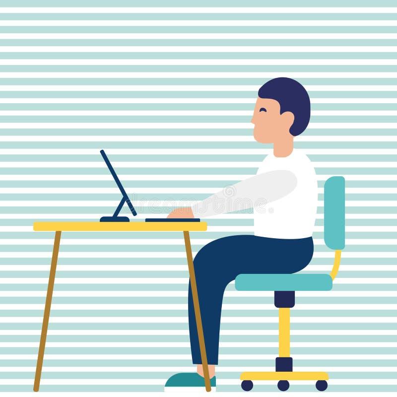 Bedrijfsmensenondernemer in een kostuum die aan een laptop computer bij zijn schoon en glad bureau werken Vlakke stijlvector vector illustratie