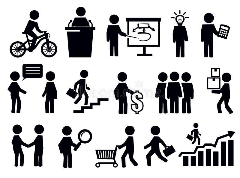 Bedrijfsmensenpictogrammen stock illustratie
