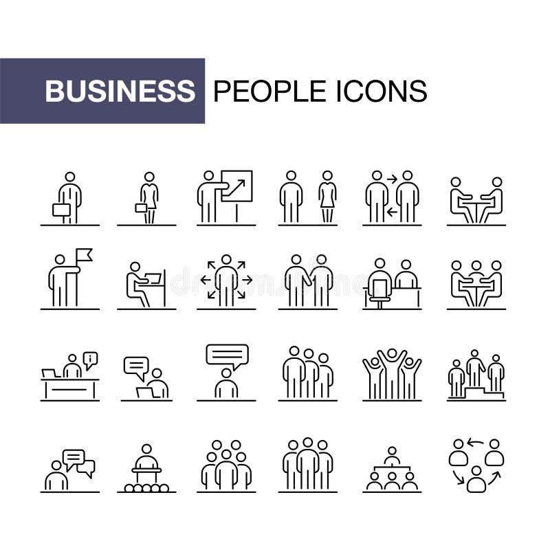 Bedrijfsmensenpictogrammen geplaatst eenvoudige lijn vlakke illustratie royalty-vrije illustratie